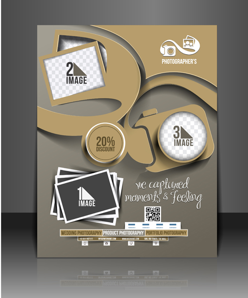Business style numbered flyers cover template vector free