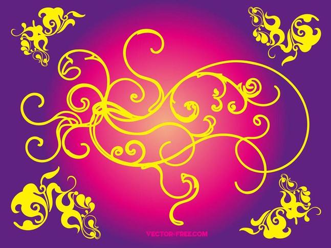 Floral Vector Swirls free