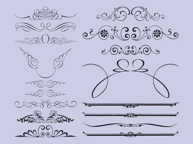 Antique Swirls Set vector free
