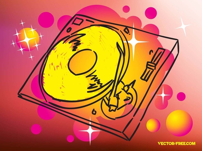 Record Player Drawing vector free