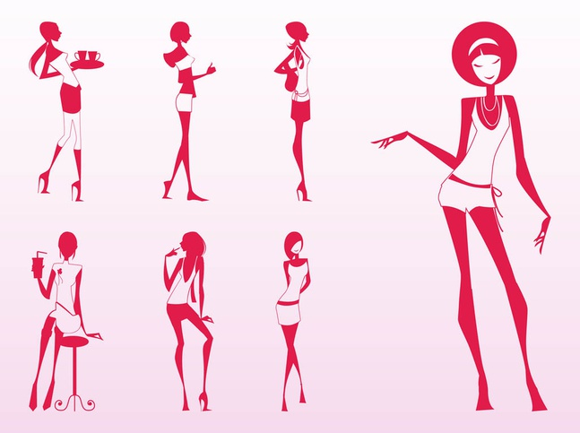 Glamour Girls Silhouettes vector free