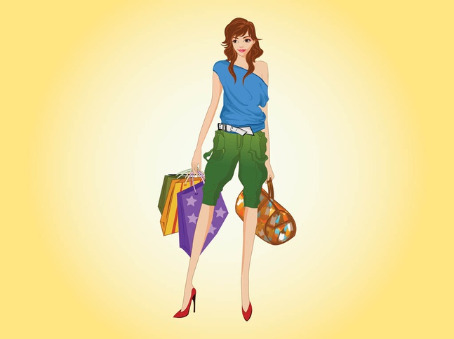 Happy Shopping Woman vector free