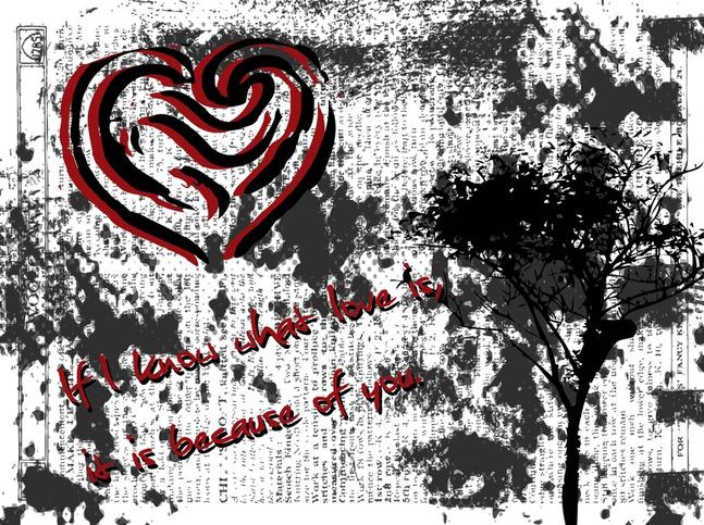 Grunge Valentine's Day Card vector free