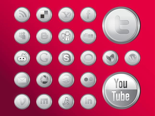 Shiny Social Media Icons vector free