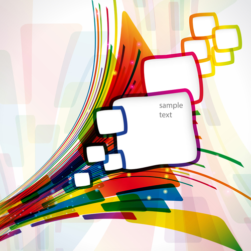 Abstract line with square vector background 02 free