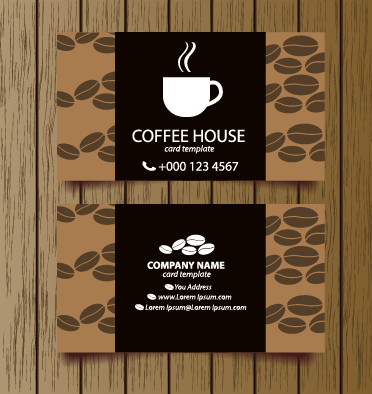 Creative coffee house business cards vector graphic 04 free