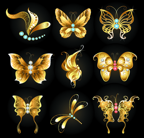 Diamond and golden butterflies vector free