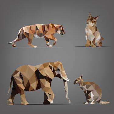 Geometric shapes wild animals vector graphics 02 free