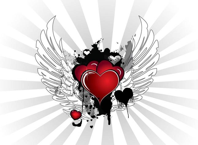 Grunge Valentine Hearts vector free
