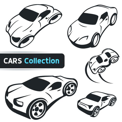 Hand drawn abstract car set vector free