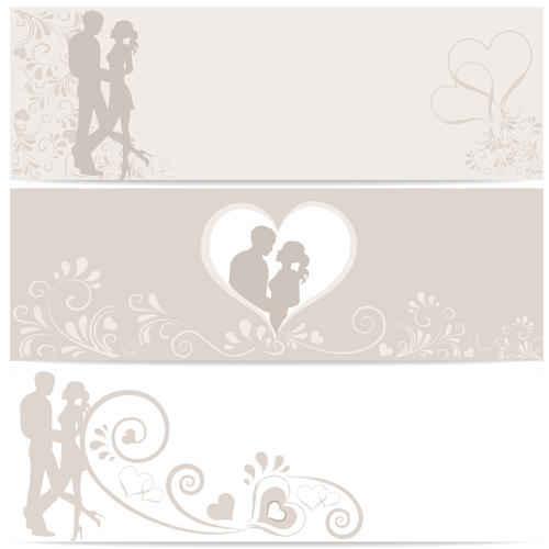 Lovers with heart design vector banners free