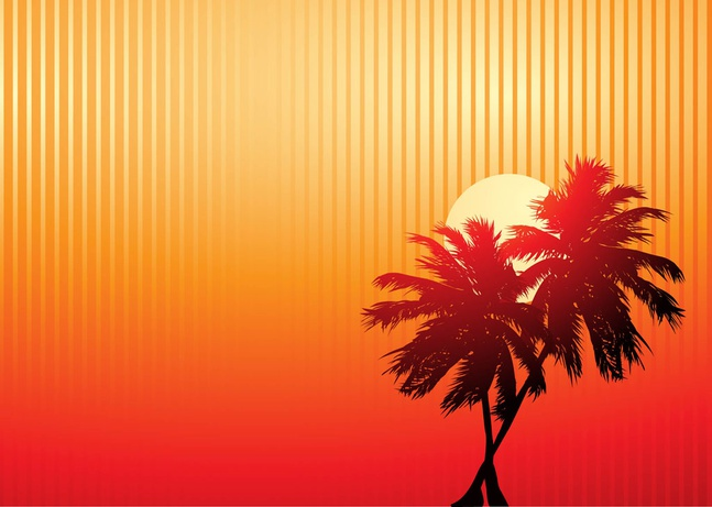 Palm Trees Sunset vector free