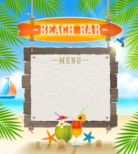 Refreshing summer time vector background 06 free