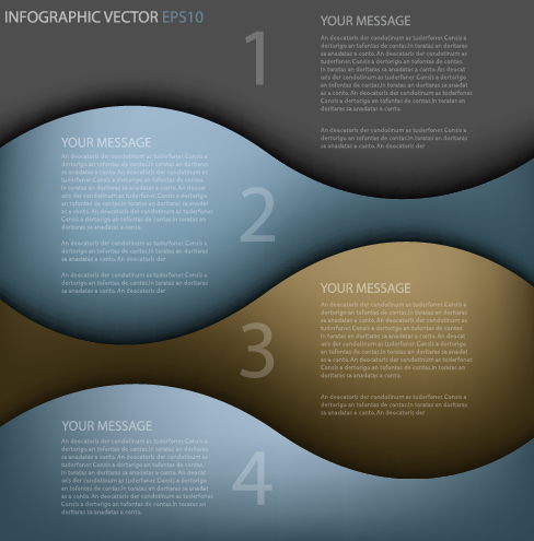 Abstract wave numbered infographics vector free