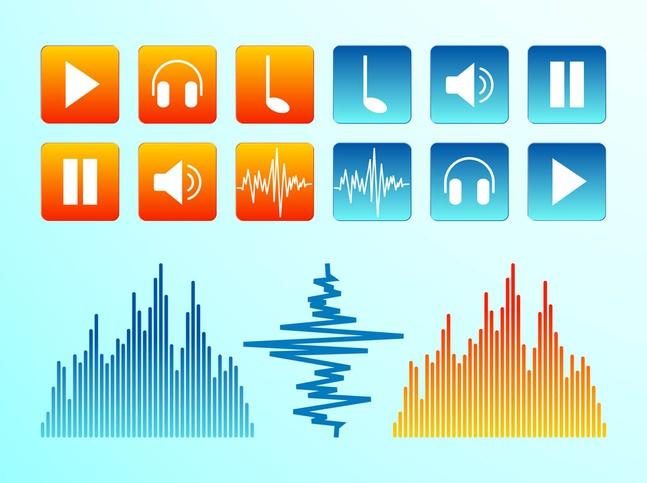 Audio Icons vector free