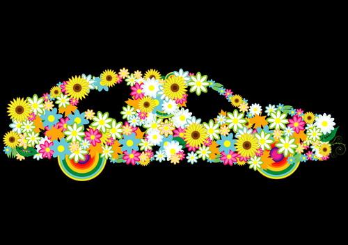 Beautiful floral car design graphics 04 free