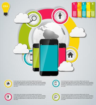 Cloud tech concept template vector 01 free
