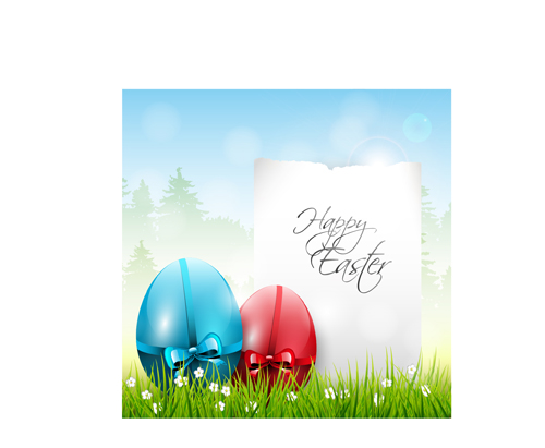 Easter color egg and green grass vector 01 free