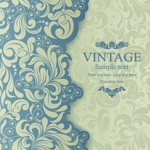 Elegant Invitations vintage style design vector 02 free