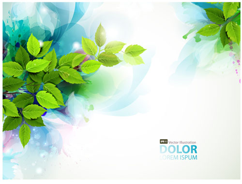 Floral girls with watercolor vector background 02 free