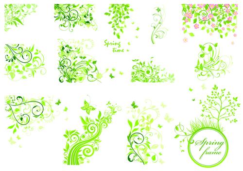 Floral green ornaments vector set 02 free