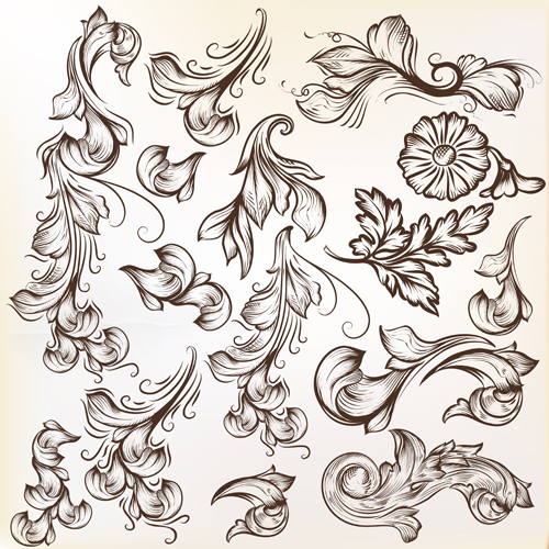 Floral swirl ornament design vector 01 free