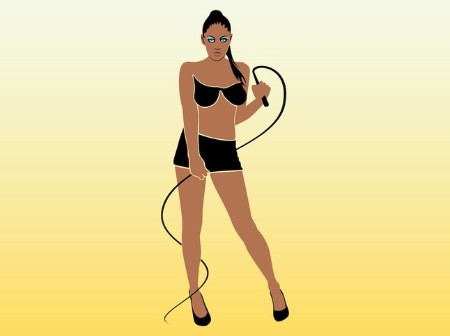 Lady With Whip vector free
