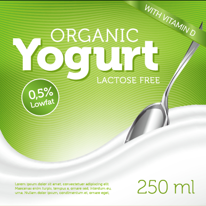 Organic yogurt advertising poster vector free