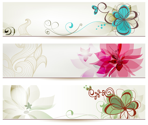 Refreshing banner with floral vector design 01 free