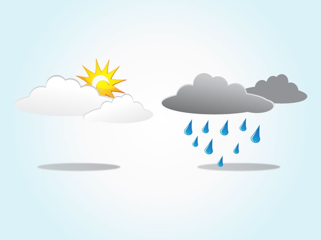 Sun Rain Clouds vector free