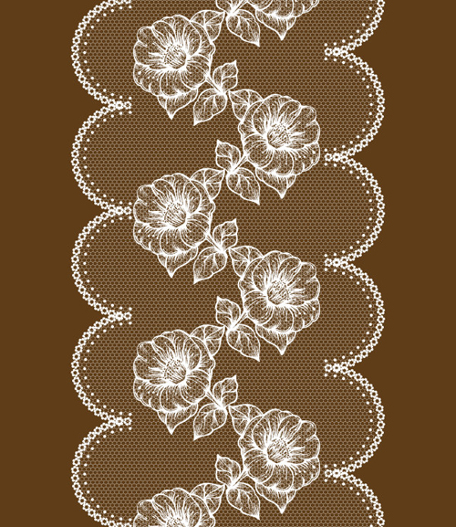 White lace with flower design vector free