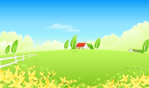 beautiful cartoon landscapes vector set 12 free
