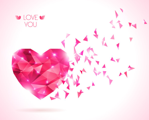 Diamond heart creative vector graphics 02 free