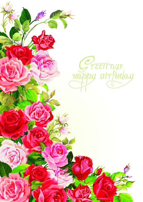 Happy Birthday Flowers Greeting Cards 02 Free