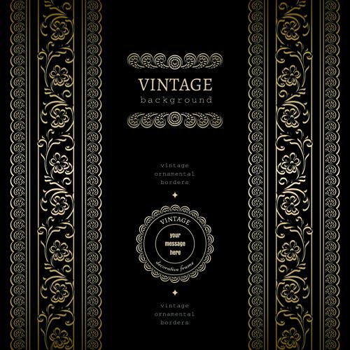 golden lace vintage background vector 02 free