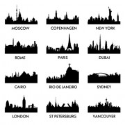 World famous cities silhouettes vector set 01 free