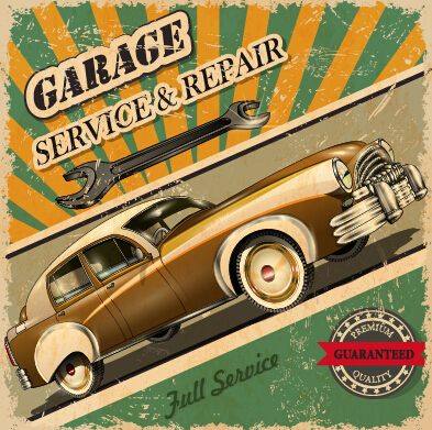 vintage style car advertising poster vector 02 free