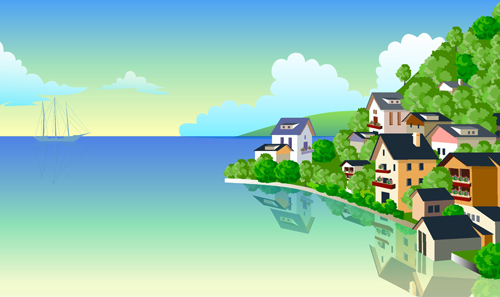 Beautiful cartoon landscapes vector set 05 free