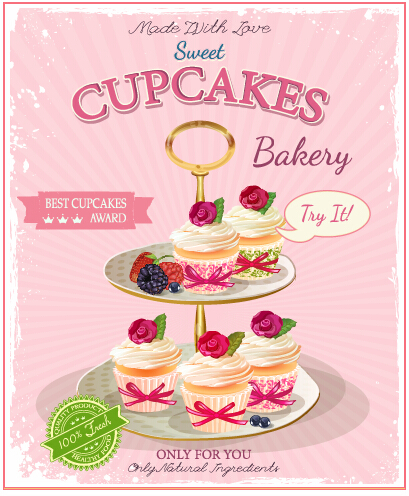 Retro advertising poster cupcakes vector 02 free | Free download