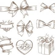 Hand drawn ribbon bow and gift boxes vector 01 free