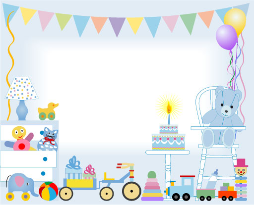 Birthday cake and toys baby card vector free – Free Baby Birthday Cards