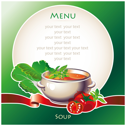 Creative soup menu cover vector