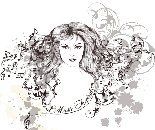 Hand drawn girl with music note vector graphics free