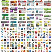 Shiny web buttons and web icons vector free
