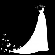 Beautiful wedding dress silhouette design vector 04 free