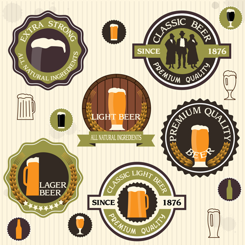 vintage green style beer labels vector set 02 free free download