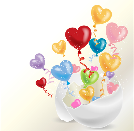 Colored dream heart design vector 04 free