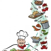 Hand drawn chef and his tools vector free