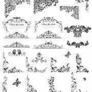 Floral ornaments border and corner vector free
