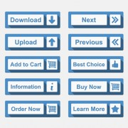 Creative blue flat web buttons vector free